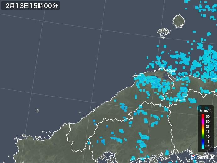 島根県の雨雲レーダー(2018年02月13日)