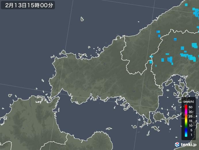 山口県の雨雲レーダー(2018年02月13日)