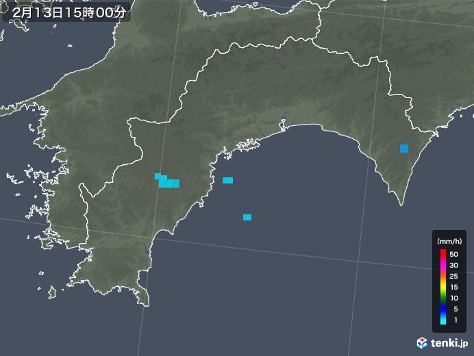 高知県の雨雲レーダー(2018年02月13日)