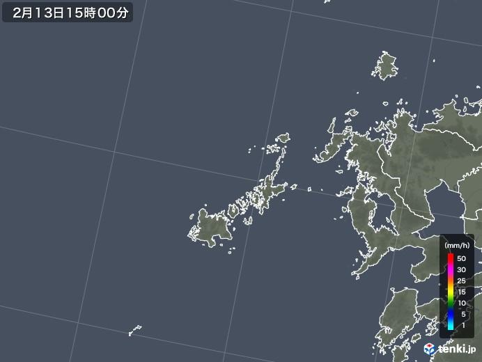 五島列島(長崎県)の雨雲レーダー(2018年02月13日)