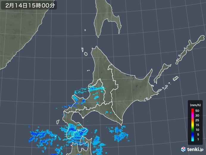 北海道地方の雨雲レーダー(2018年02月14日)