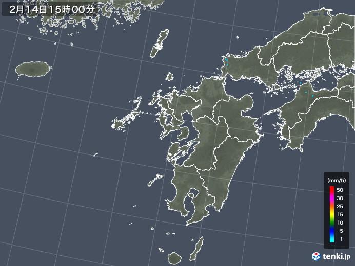 九州地方の雨雲レーダー(2018年02月14日)