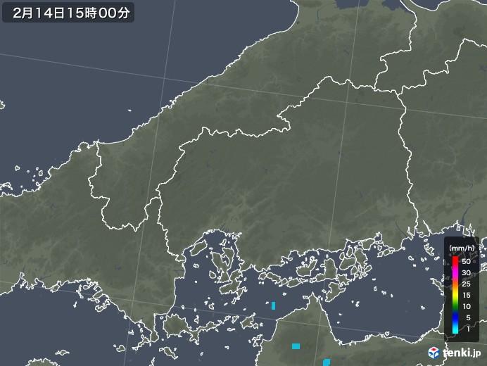 広島県の雨雲レーダー(2018年02月14日)