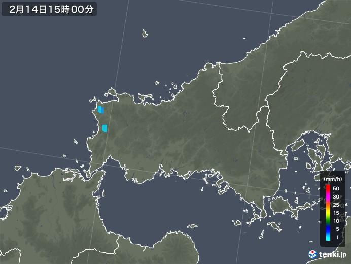 山口県の雨雲レーダー(2018年02月14日)