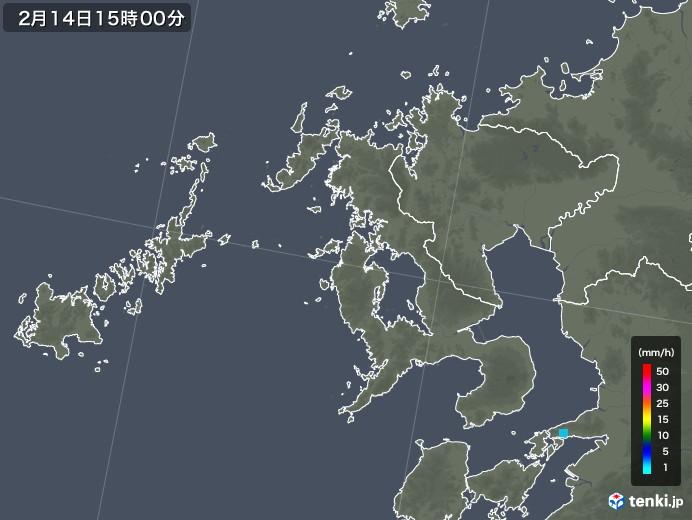 長崎県の雨雲レーダー(2018年02月14日)