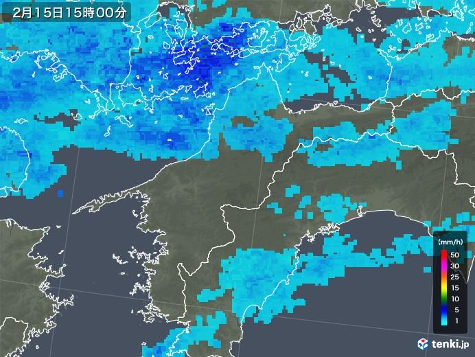 愛媛県の雨雲レーダー(2018年02月15日)
