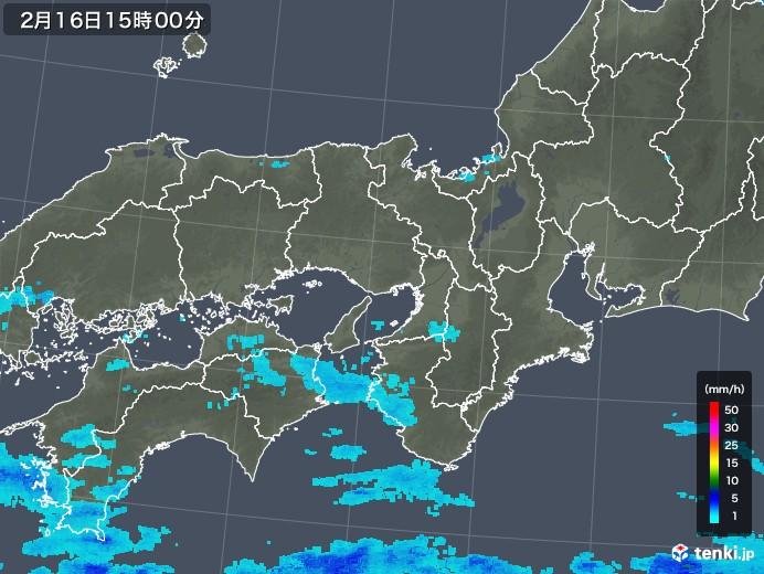 近畿地方の雨雲レーダー(2018年02月16日)
