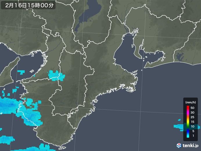 三重県の雨雲レーダー(2018年02月16日)