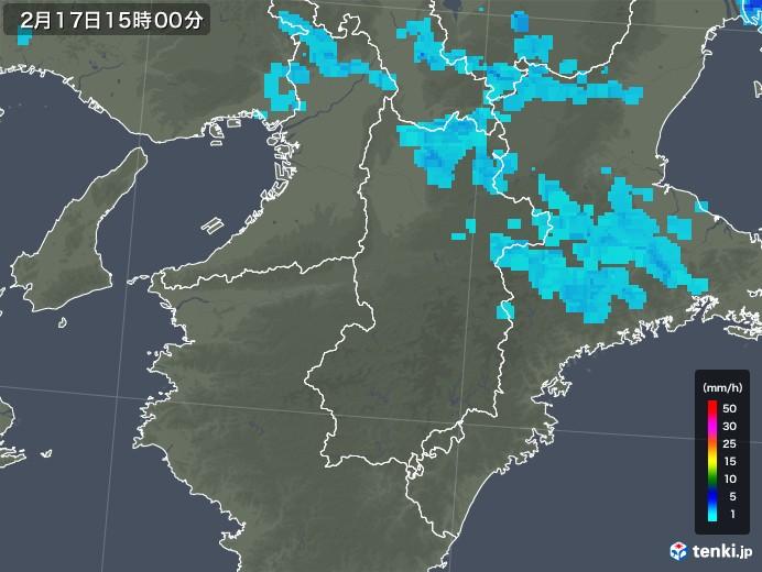 奈良県の雨雲レーダー(2018年02月17日)