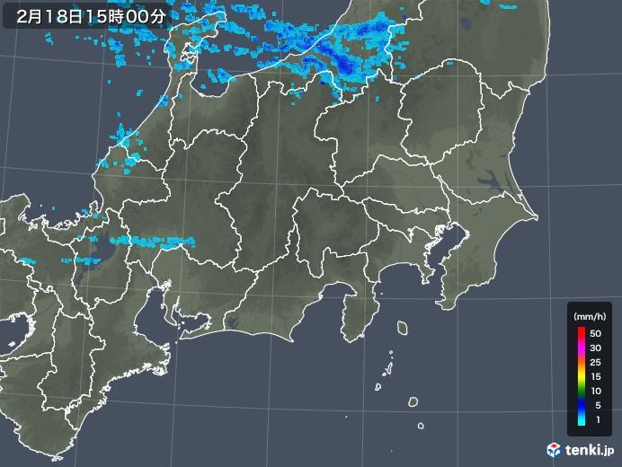 関東・甲信地方の雨雲レーダー(2018年02月18日)