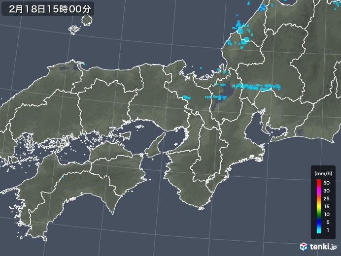 近畿地方の雨雲レーダー(2018年02月18日)