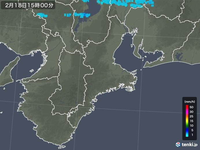三重県の雨雲レーダー(2018年02月18日)