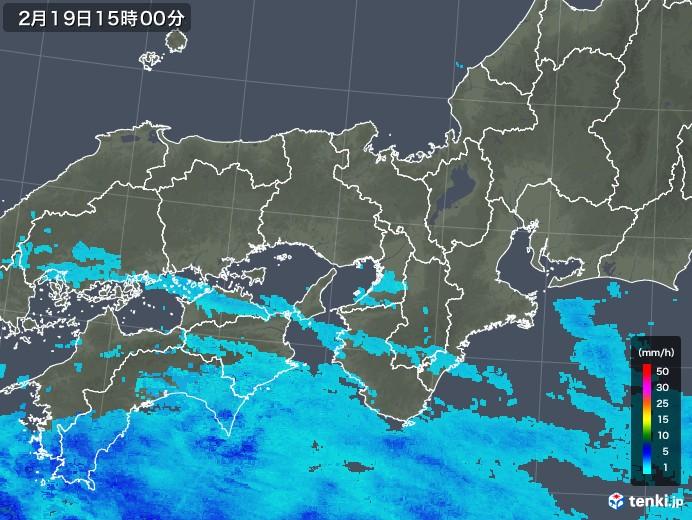 近畿地方の雨雲レーダー(2018年02月19日)