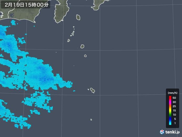 伊豆諸島(東京都)の雨雲レーダー(2018年02月19日)