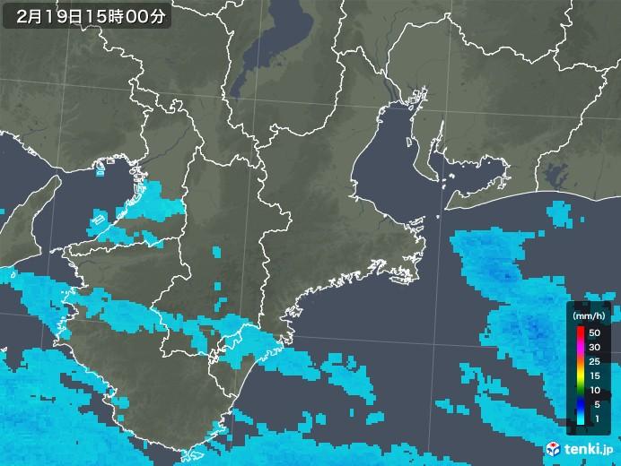 三重県の雨雲レーダー(2018年02月19日)