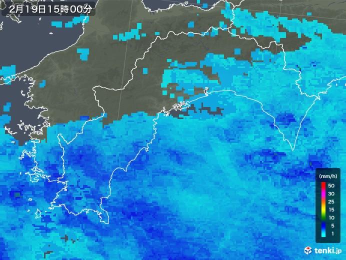 高知県の雨雲レーダー(2018年02月19日)