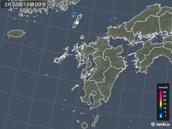 九州地方の雨雲レーダー(2018年02月20日)