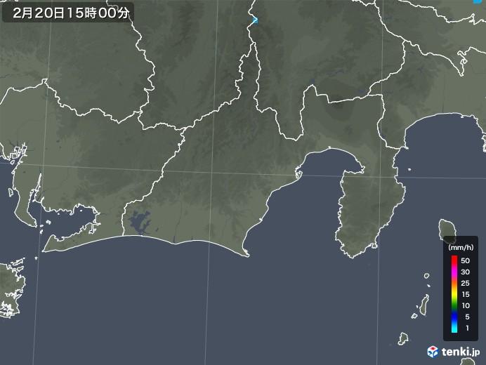 静岡県の雨雲レーダー(2018年02月20日)