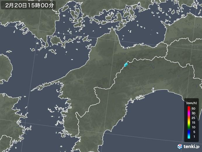愛媛県の雨雲レーダー(2018年02月20日)