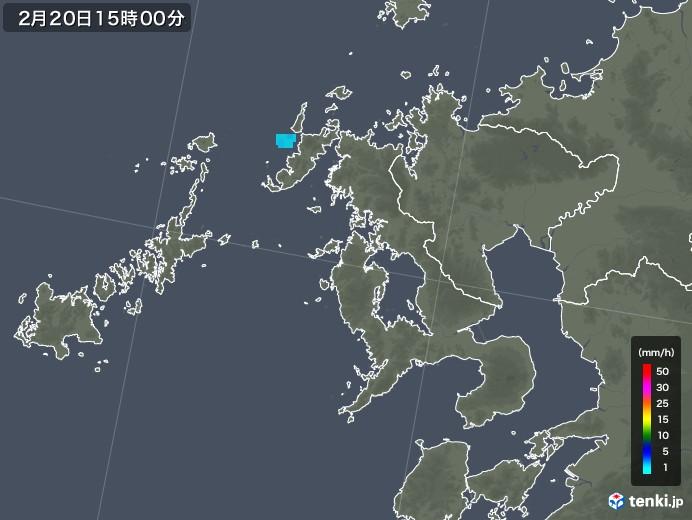 長崎県の雨雲レーダー(2018年02月20日)