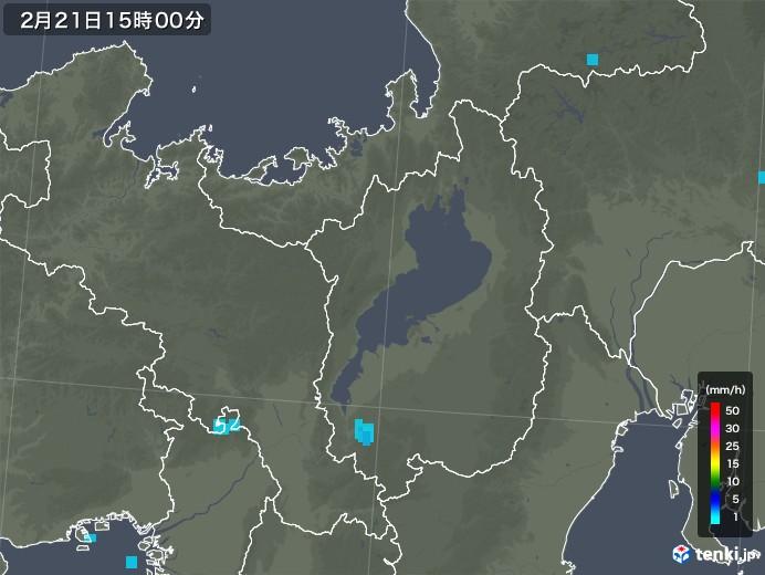 滋賀県の雨雲レーダー(2018年02月21日)