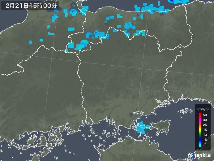 岡山県の雨雲レーダー(2018年02月21日)