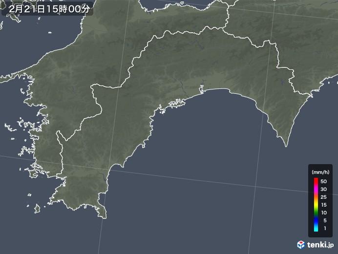 高知県の雨雲レーダー(2018年02月21日)
