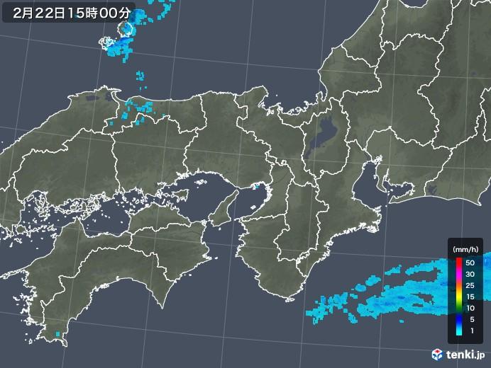 近畿地方の雨雲レーダー(2018年02月22日)