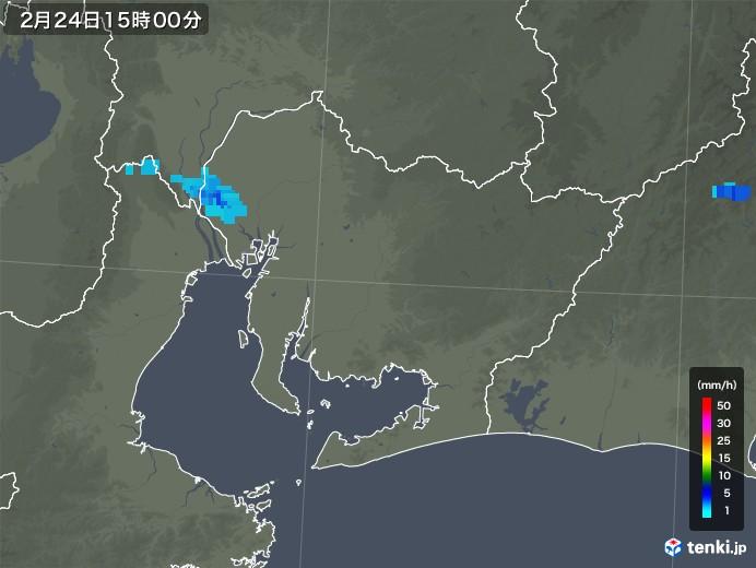 愛知県の雨雲レーダー(2018年02月24日)