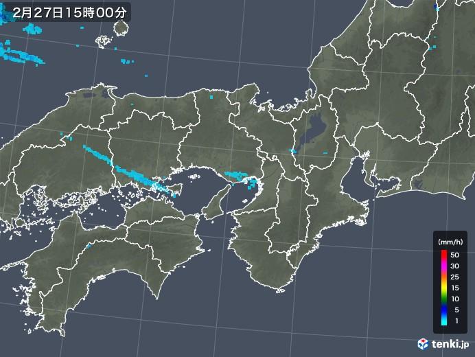 近畿地方の雨雲レーダー(2018年02月27日)