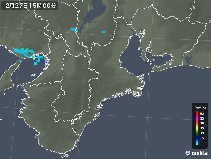 三重県の雨雲レーダー(2018年02月27日)