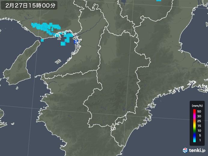 奈良県の雨雲レーダー(2018年02月27日)
