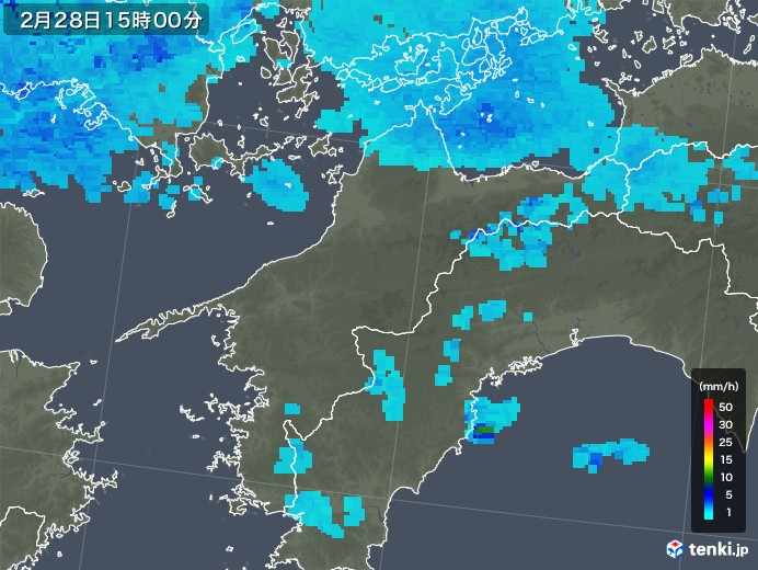 愛媛県の雨雲レーダー(2018年02月28日)