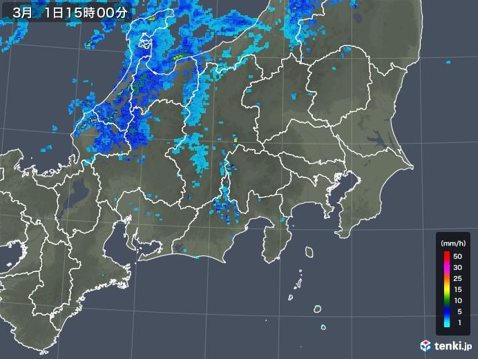 関東・甲信地方の雨雲レーダー(2018年03月01日)