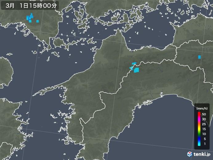 愛媛県の雨雲レーダー(2018年03月01日)