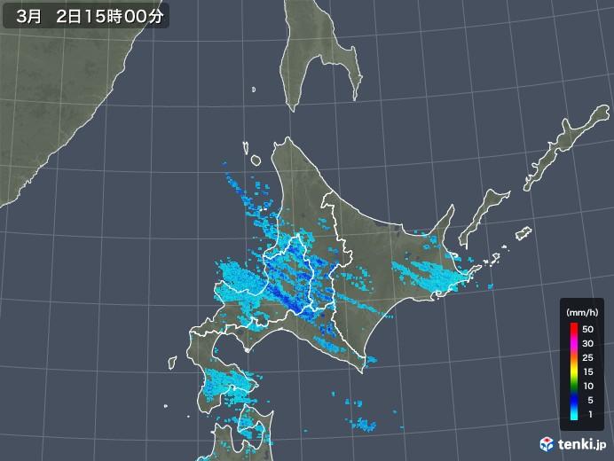 北海道地方の雨雲レーダー(2018年03月02日)