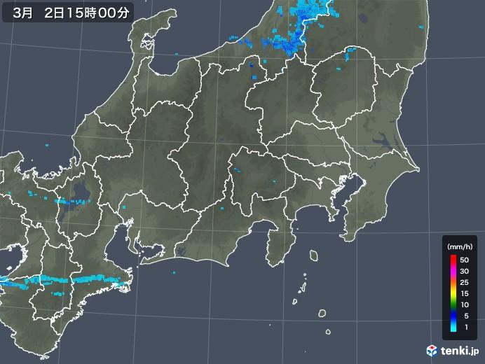 関東・甲信地方の雨雲レーダー(2018年03月02日)