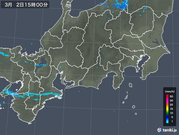 東海地方の雨雲レーダー(2018年03月02日)