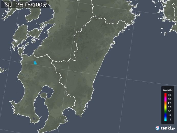 宮崎県の雨雲レーダー(2018年03月02日)