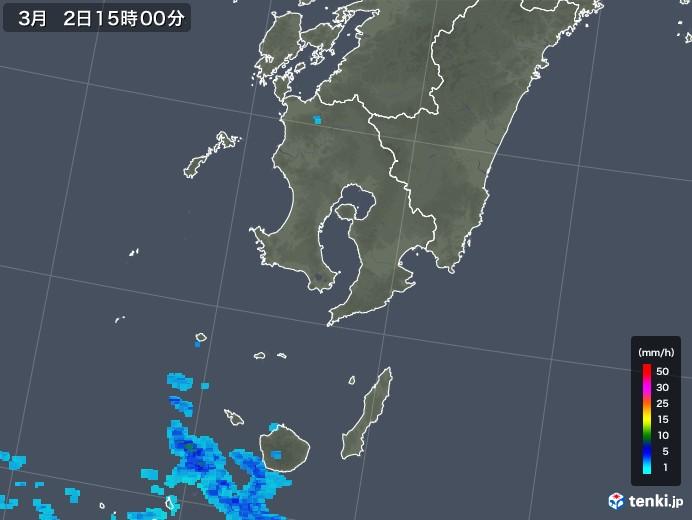 鹿児島県の雨雲レーダー(2018年03月02日)
