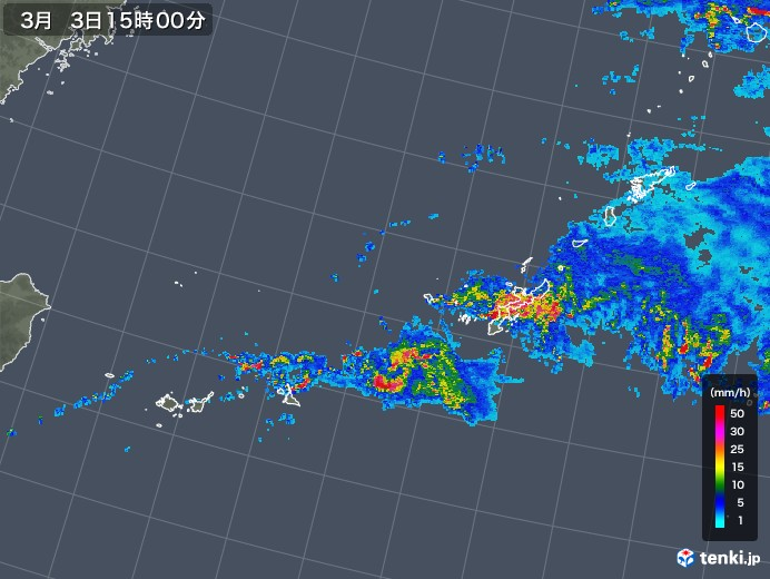 沖縄地方の雨雲レーダー(2018年03月03日)