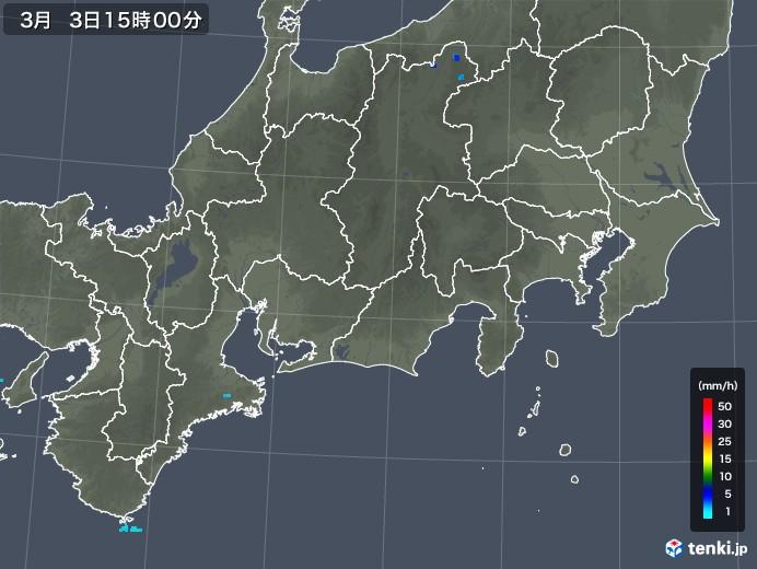 東海地方の雨雲レーダー(2018年03月03日)
