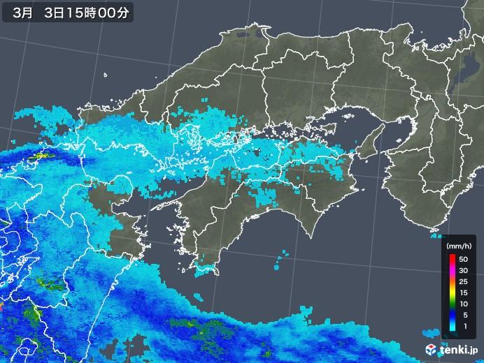 四国地方の雨雲レーダー(2018年03月03日)