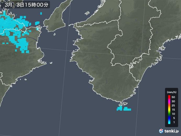 和歌山県の雨雲レーダー(2018年03月03日)