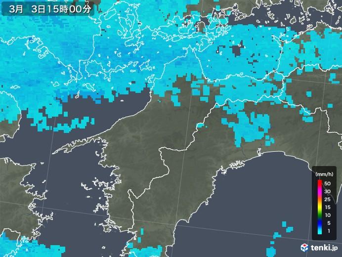 愛媛県の雨雲レーダー(2018年03月03日)