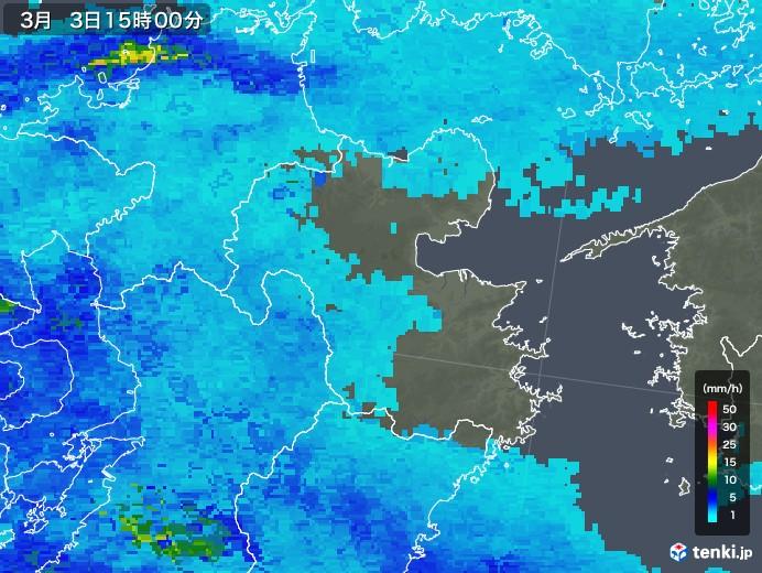大分県の雨雲レーダー(2018年03月03日)
