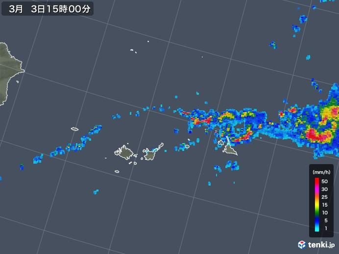 宮古島・石垣・与那国(沖縄県)の雨雲レーダー(2018年03月03日)