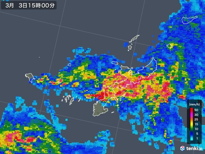 沖縄県の雨雲レーダー(2018年03月03日)