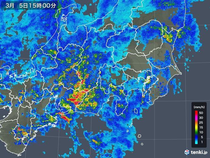 関東・甲信地方の雨雲レーダー(2018年03月05日)