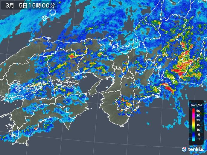 近畿地方の雨雲レーダー(2018年03月05日)